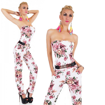 Abito spacco floreale tuta donna overall shorts gonna pantaloncini coda nuovo