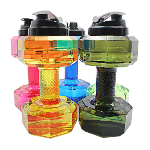 2.2L Dumbbell Flask Sport Travel Water Drink Bottle Fitness Gym Exercise Cup