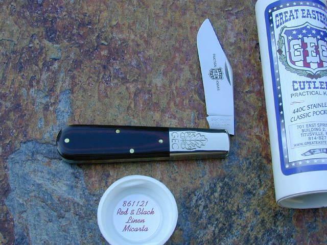 GREAT EASTERN CUTLERY GEC RED & BLACK MICARTA LARGE BARLOW KNIFE RARE MIT 861121