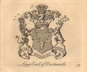 Legge Learned 1768 Antique Print Crest-arms Earl Of Dartmouth