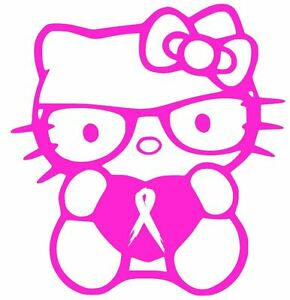 BREAST-CANCER-RIBBON-HELLO-KITTY-DECAL-4-034-vinyl-car-window-sticker-13-COLORS