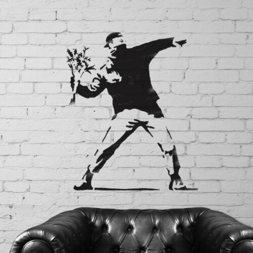 Banksy Flower Thrower stencil home decor art replica graffiti Ideal Stencils Ltd