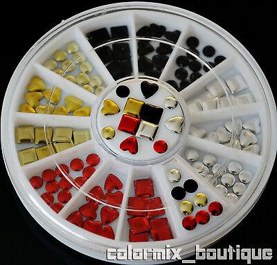 4 Color 3 Shape Metallic Rivets Nail Art Decoration Square Round Heart Stud #S13