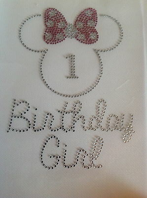 Disney Minnie Mouse Custom Birthday Girl Hot Fix Rhinestone Iron On Transfer