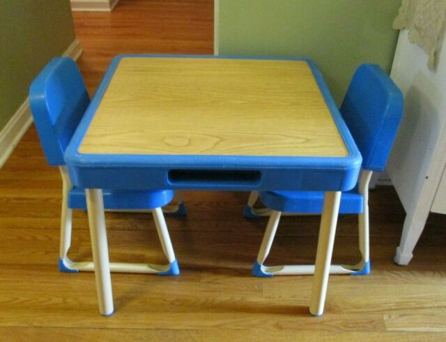 Vintage Fisher Price Table 2 Chairs Set Child Size Kids Play Art Craft Vgc Ebay