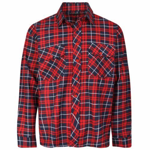 Da Uomo Pieno Cotone Controllato 2 taschino Flanella Lumber Jack Winter Camicia Taglia