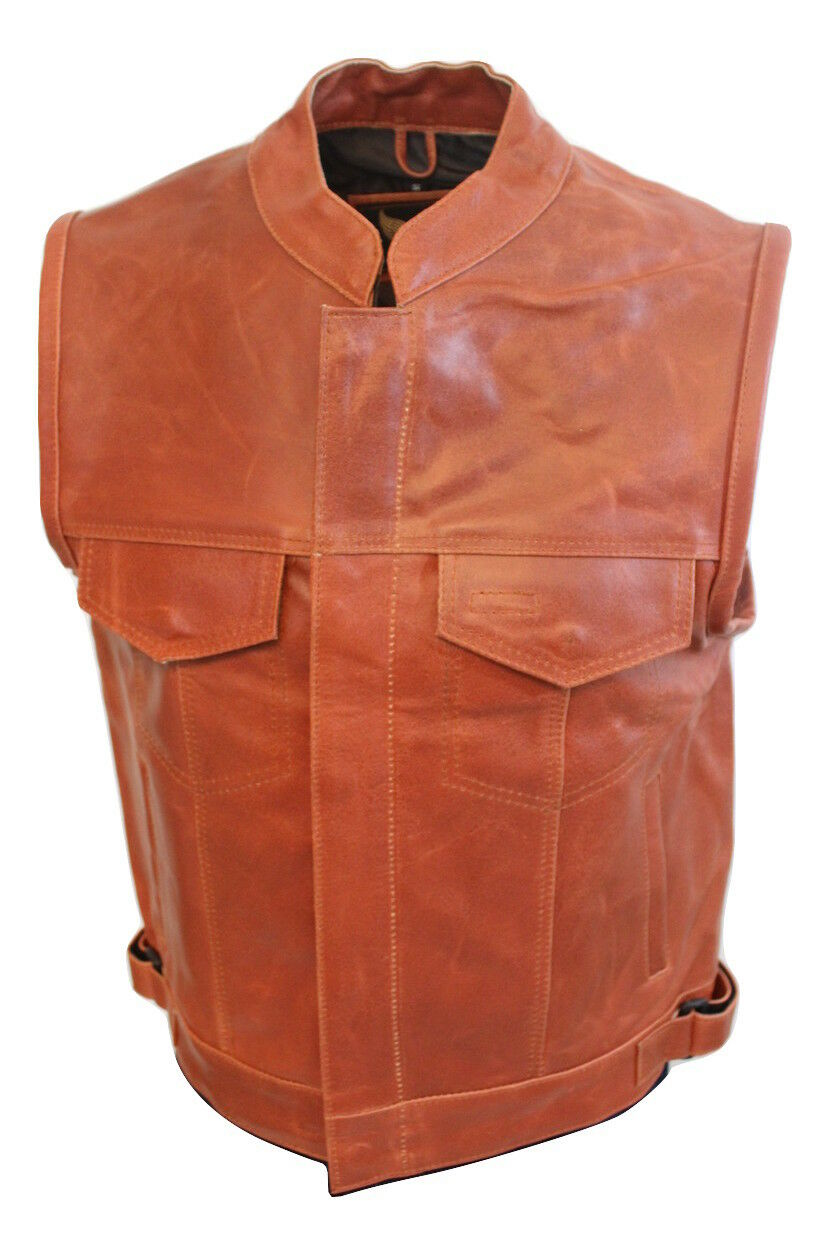 Men SOA Anarchy distreesed brown leather vest concealed carry arms 10% Off FreeS