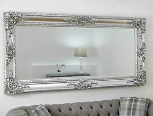Ella platinum silver ornate leaner vintage floor mirror 80 for Miroir 40 x 80