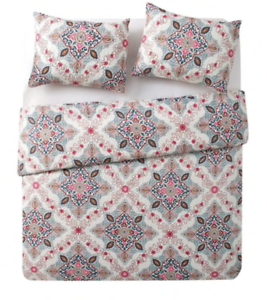 NEW VCNY Wilma King Quilt Set 3-Piece Shams Boho Medallion colorful Teal Yellow