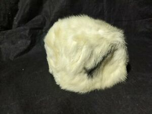 Precious-Furs-by-Marche-Mink-Fur-Hat-Off-White-Black-Accent-UNKNOWN-SIZE-AS-IS