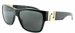 New-Authentic-Versace-VE-4296-GB1-87-Black-Plastic-Square-Sunglasses-Grey-Lens
