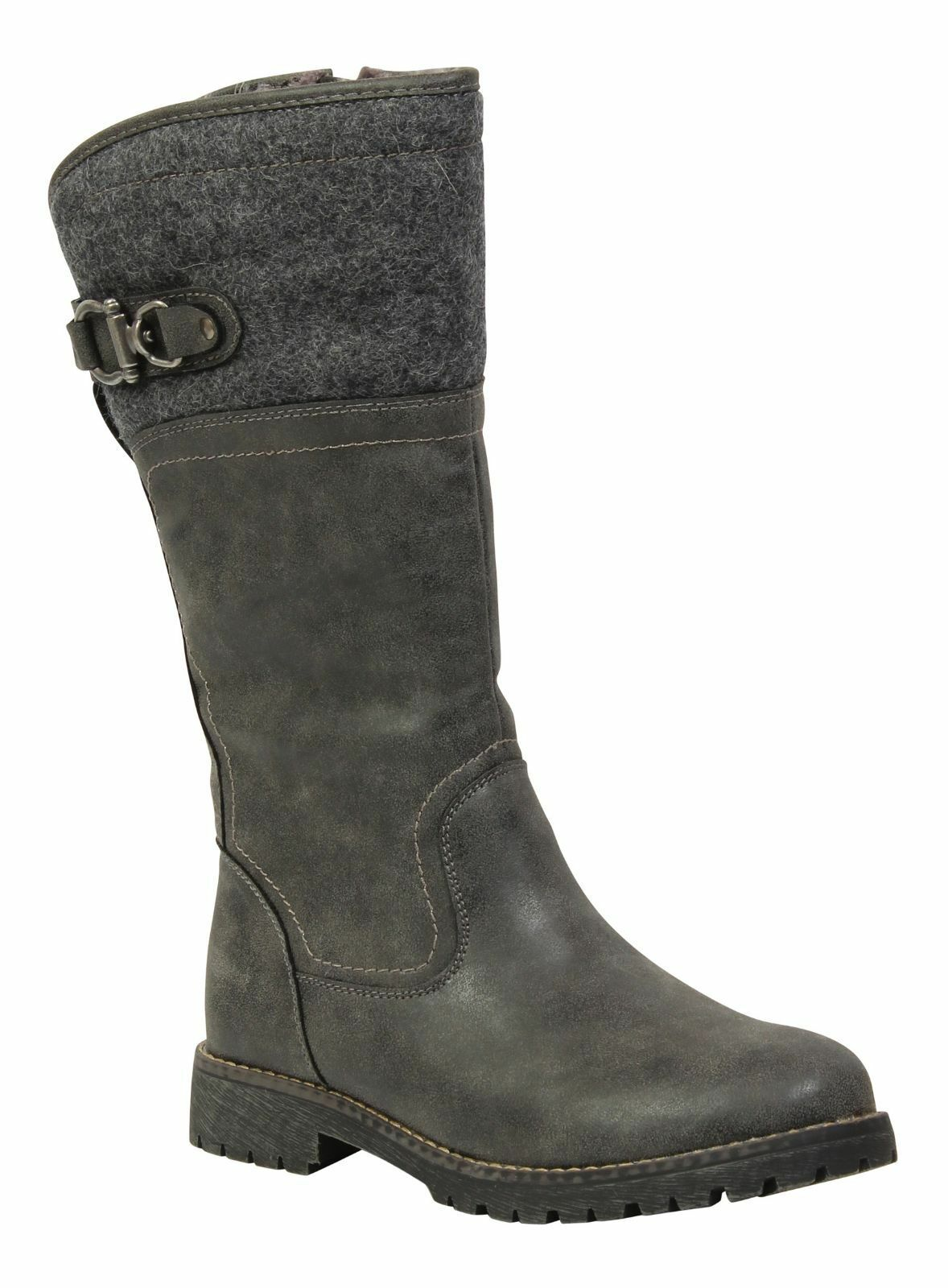 Keddo Winter gris Mid Calf Biker femmes Buckle Fully Fur Lined bottes UK 2.5, & 3