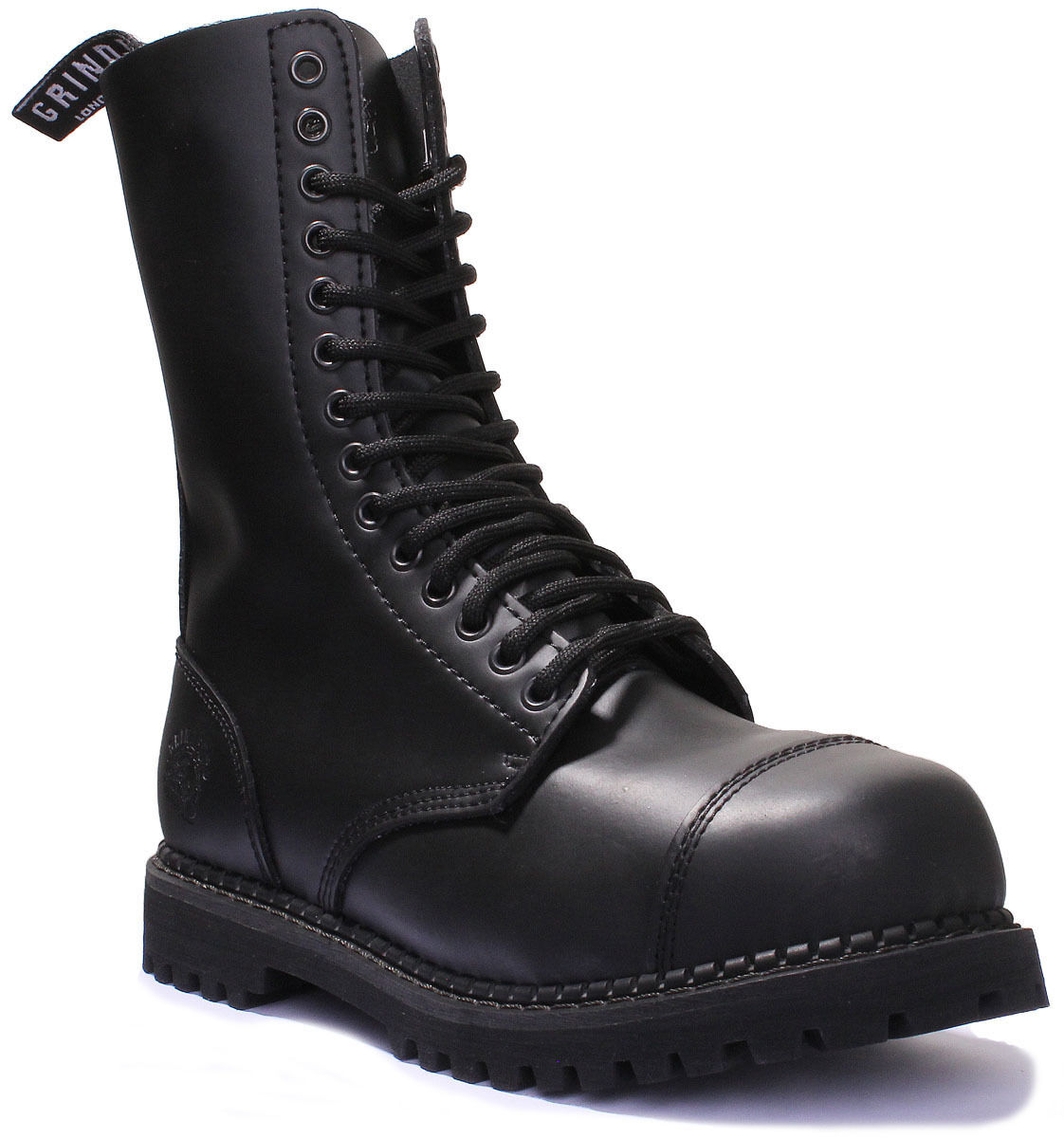 Grinders Herald CS Unisex Black Leather Matt Boots UK Size 3 - 12
