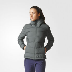 Details about adidas WMNS Helionic Down Hooded Jacket woman female dark green BQ1932