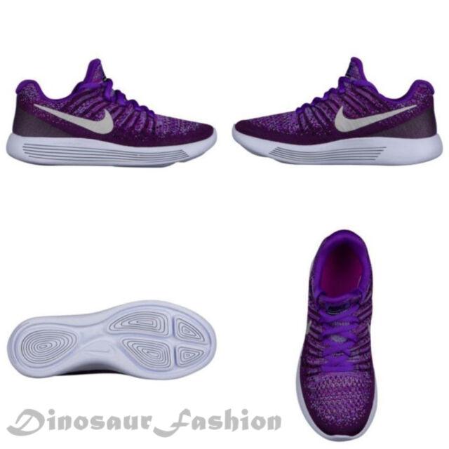 hot sales e3e86 25ba5 Nike Kids Lunar Epic Low Flyknit 2 Running Shoes 5m Girls Purple Silver