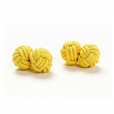 gelb London Gentleman d.braun 1 Paar Seidenknoten Manschettenknöpfe Cufflinks