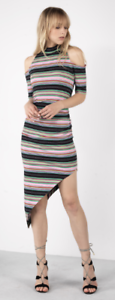 Nicole Miller Stripe Asymmetrical Dress Medium Cold Shoulder Bodycon Mock Neck