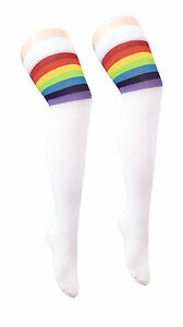 Womens Stripe Over The Knee Socks Ladies Referee OTK Fancy Stretchy Socks