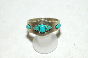 Navajo-4-stone-inlay-Turquoise-Band-Ring-sterling-Silver-signed