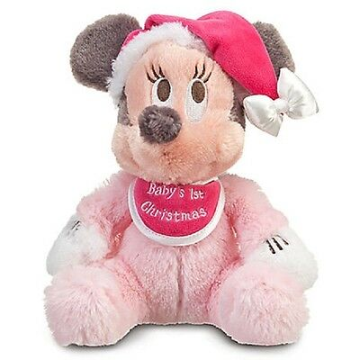 "BABY'S 1ST CHRISTMAS MINNIE MOUSE HOLIDAY PLUSH 9"" DISNEY PARKS AUTHENTIC NWT"