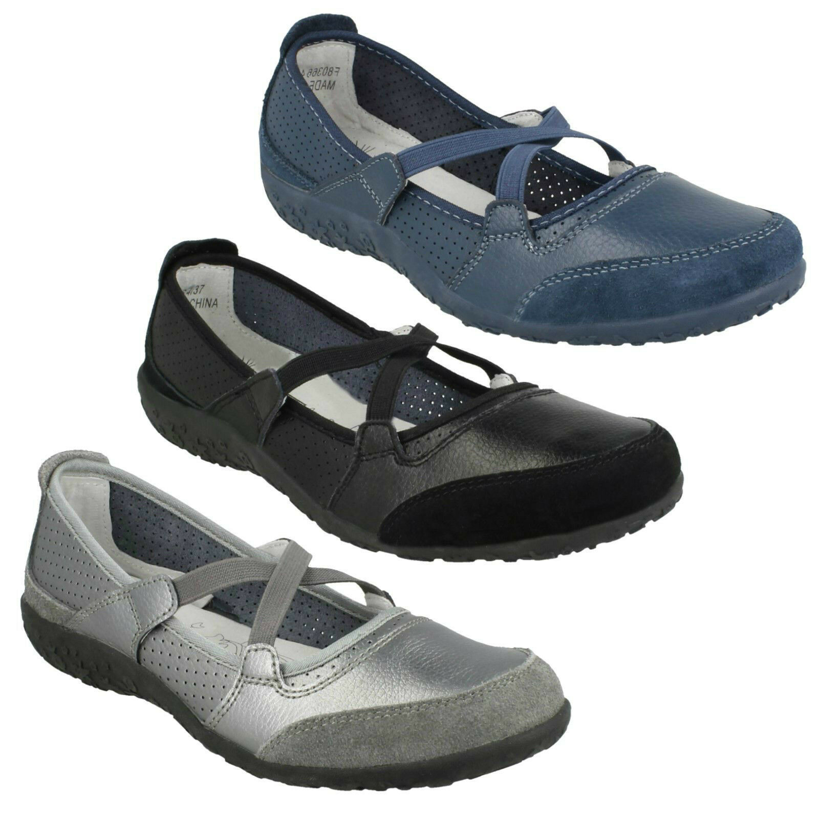 DOWN TO EARTH COMFORT LADIES FLAT SHOES ELASTIC STRAP CASUAL PUMPS SIZES F8R0366