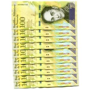 VENEZUELA-100000-Bolivares-13DEC-2017-2018-P-NEW-UNC-LOT-10-PCS
