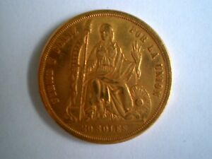 Image Is Loading 1863 Peru 20 Soles Dollars Pesos Gold Coin