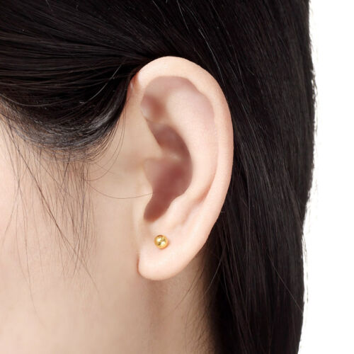 New 999 Pure 24K Yellow Gold Earrings 3D Women/'s Lucky Ball Stud Earring