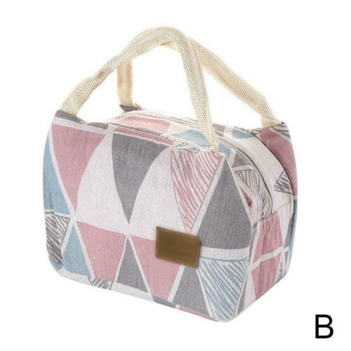 1Pcs Pattern Cooler Lunch Box Portable Insulated Canvas Lunch Bag Thermal Decor