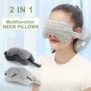2-In-1-Travel-Cosy-Body-Pillow-Neck-Grey-With-Eye-Mask-Portable-Pillow-Sup-N7S1