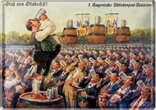Bayerische Oktoberfest Division 10 x 14 cm Blechschild Blechpostkarte 1