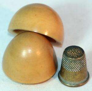 ORIGINAL-ANTIQUE-C1900-WOODEN-EGG-THIMBLE-HOLDER-figural