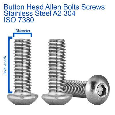 M8 x 22mm BUTTON HEAD ALLEN KEY BOLTS SOCKET SCREWS STAINLESS STEEL ISO 7380