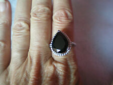 Black Spinel ring, 10.8 carats, size N/O, in 4.14 grams of 925 Sterling Silver