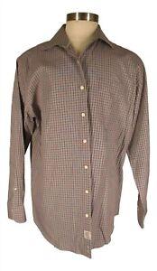 Peter Millar Mens Multicolor Plaid Long Sleeve Cotton Shirt XL