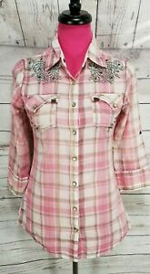 Roar-Western-Shirt-Size-M-Womens-Pink-Plaid-Distressed-Snap-Button-Embroidered