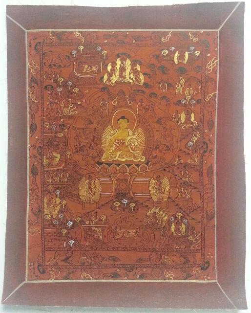 The Life of Buddha Tibetan Brown Hand-painted Thangka Painting Free shipping e44