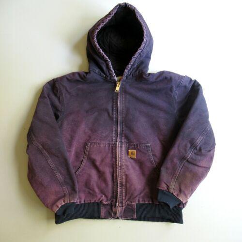 vtg 90s Carhartt Hooded Faded Purple Work Wear Qui