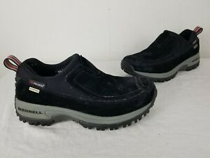 Merrell-Polar-Moc-Waterproof-Womens-Size-6-US-Black-Suede-Slip-On-Mules-Clogs