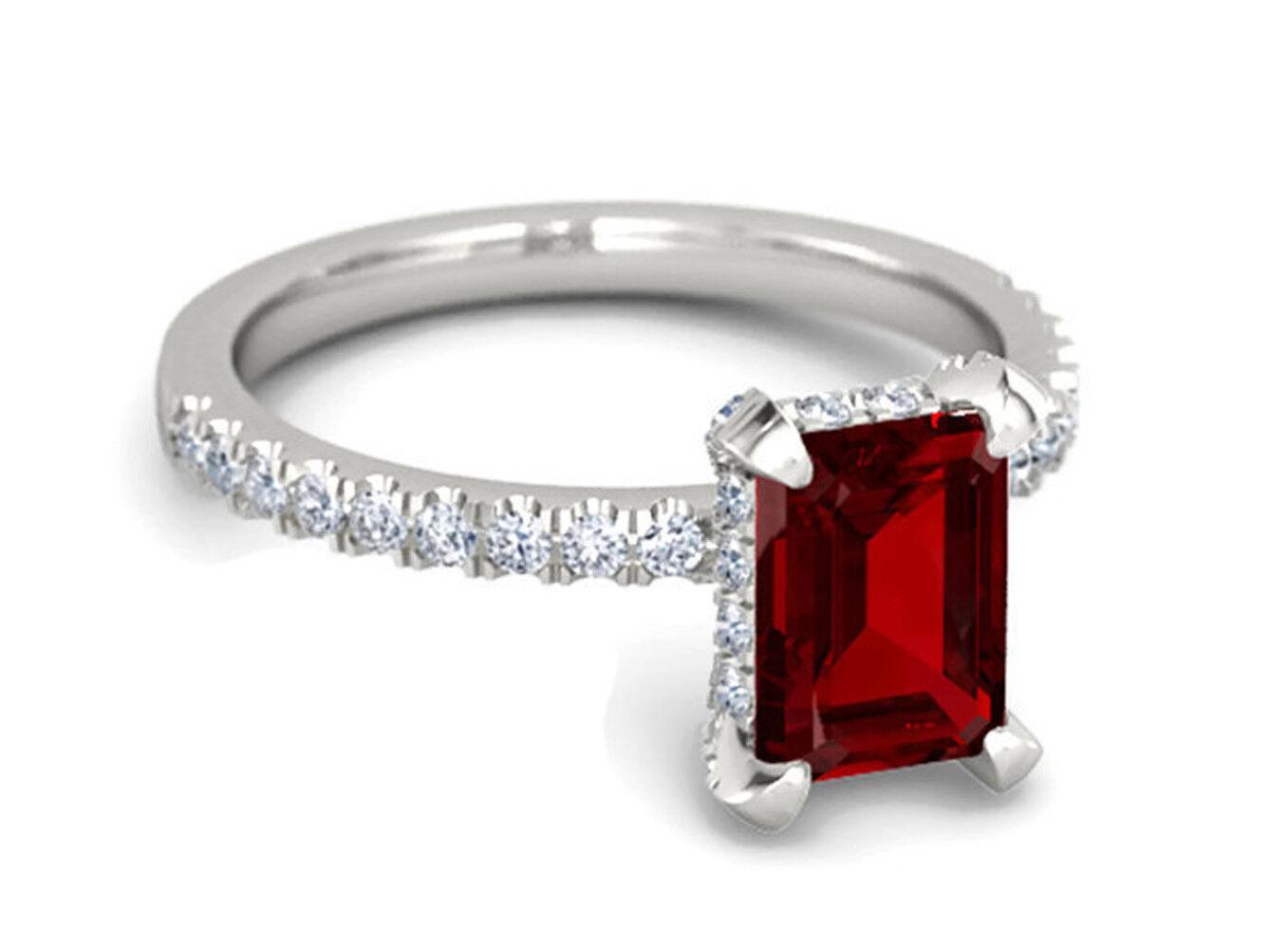 0.76ct Diamond Ruby 14k White gold Engagement Women's Ring Christmas Season