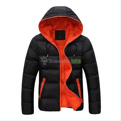 NEW Men's Winter Hooded Thick Padded Jacket Zipper Slim Outwear Coat Down Warm
