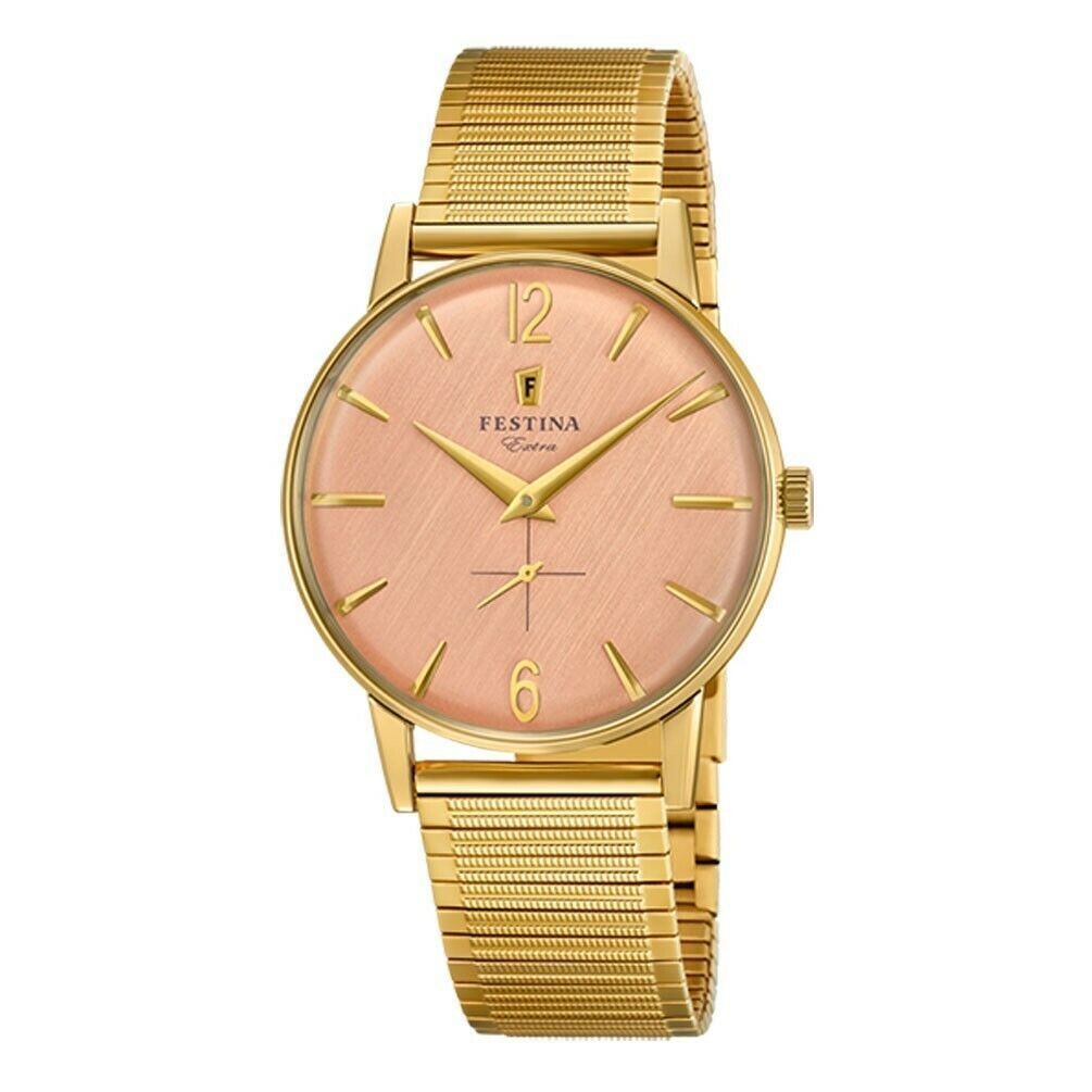 Reloj Hombre Festina Extra esfera rosada chapado amarillo brazalete extensible F