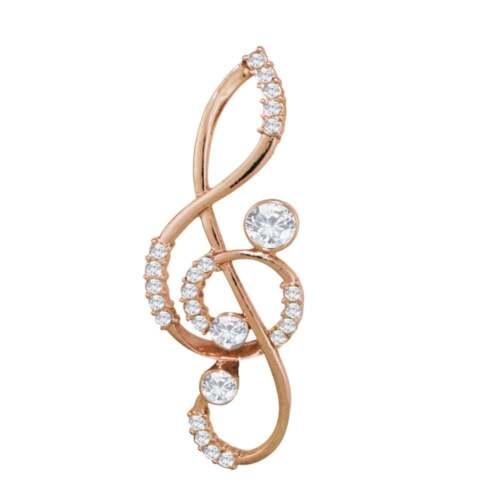 Treble clef Rosa Cristal de ritmo Broche Dorado