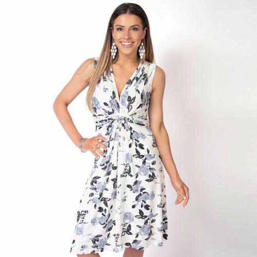 Damen Blumen V Ausschnitt Knoten Kleid Geblumtes Knielanges Sommerkleid Damenmode Kleidung Accessoires