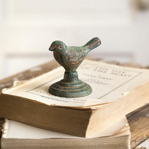 Cast Iron Chickadee Bird Statue Figurine Green Rustic Chippy Tabletop Outdoors