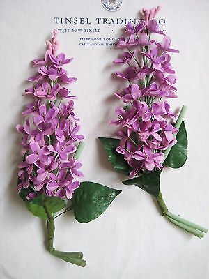 2 Bu Lovely Antique Vintage Lavender Lilac Sprays Millinery Hat Flower UNUSED