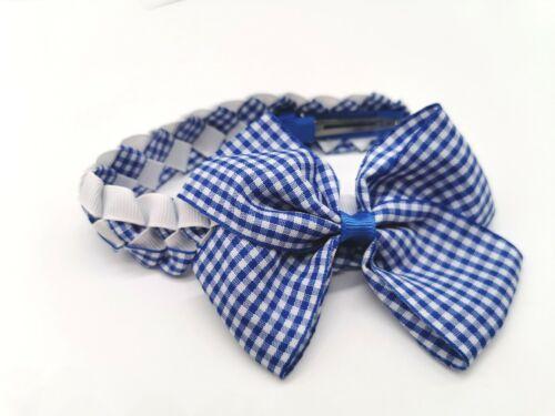 Girl Hair Bow Bun Wrap Girls School Hair Blue//White Gingham Free P/&P