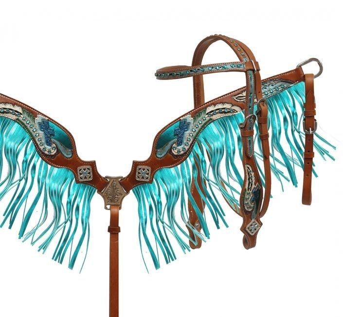 Showman Pintado Pluma Fileteado Cabezada & pecho collar conjunto con flecos Metálico