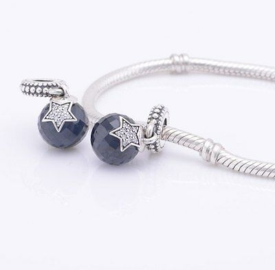 FACETED BLUE STAR 925 Sterling Silver Solid Dangle Charm Bead Bracelet