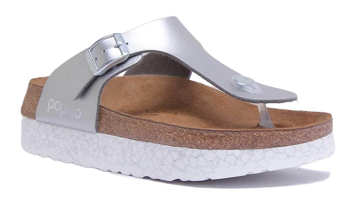Papillio UK Gizeh Bf Womens Silver Birko Flor Sandal UK Papillio Size 3 - 8 e9dafb